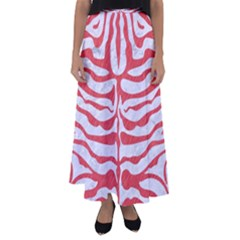Skin2 White Marble & Red Colored Pencil (r) Flared Maxi Skirt