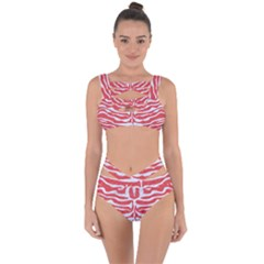 Skin2 White Marble & Red Colored Pencil Bandaged Up Bikini Set
