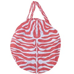 Skin2 White Marble & Red Colored Pencil Giant Round Zipper Tote by trendistuff