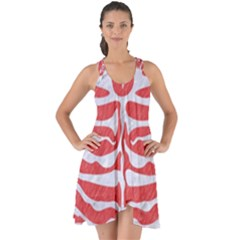 Skin2 White Marble & Red Colored Pencil Show Some Back Chiffon Dress