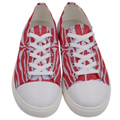 Skin2 White Marble & Red Colored Pencil Women s Low Top Canvas Sneakers