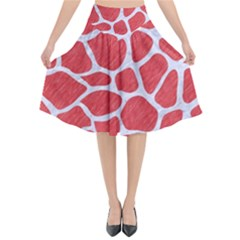 Skin1 White Marble & Red Colored Pencil (r) Flared Midi Skirt