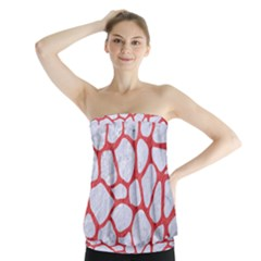 Skin1 White Marble & Red Colored Pencil Strapless Top
