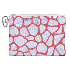Skin1 White Marble & Red Colored Pencil Canvas Cosmetic Bag (xl)