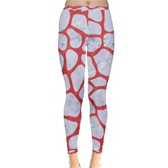 Skin1 White Marble & Red Colored Pencil Inside Out Leggings
