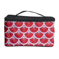 Scales3 White Marble & Red Colored Pencil Cosmetic Storage Case by trendistuff