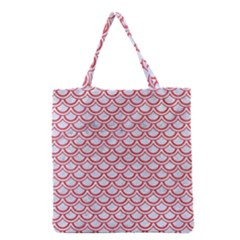 Scales2 White Marble & Red Colored Pencil (r) Grocery Tote Bag by trendistuff