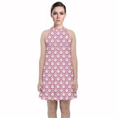 Scales2 White Marble & Red Colored Pencil (r) Velvet Halter Neckline Dress