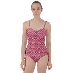 Scales2 White Marble & Red Colored Pencil Sweetheart Tankini Set