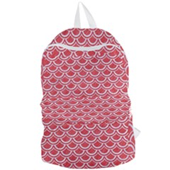 Scales2 White Marble & Red Colored Pencil Foldable Lightweight Backpack