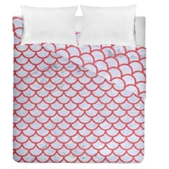 Scales1 White Marble & Red Colored Pencil (r) Duvet Cover Double Side (queen Size) by trendistuff