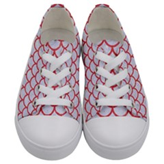 Scales1 White Marble & Red Colored Pencil (r) Kids  Low Top Canvas Sneakers