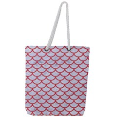Scales1 White Marble & Red Colored Pencil (r) Full Print Rope Handle Tote (large)