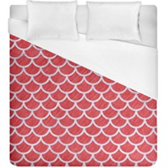 Scales1 White Marble & Red Colored Pencil Duvet Cover (king Size) by trendistuff