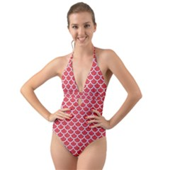 Scales1 White Marble & Red Colored Pencil Halter Cut Out One Piece Swimsuit