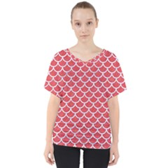 Scales1 White Marble & Red Colored Pencil V Neck Dolman Drape Top