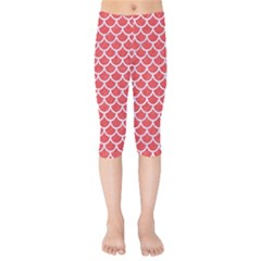Scales1 White Marble & Red Colored Pencil Kids  Capri Leggings