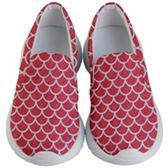Scales1 White Marble & Red Colored Pencil Kid s Lightweight Slip Ons