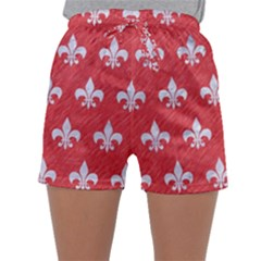 Royal1 White Marble & Red Colored Pencil (r) Sleepwear Shorts