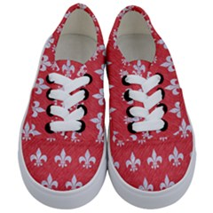 Royal1 White Marble & Red Colored Pencil (r) Kids  Classic Low Top Sneakers