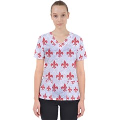 Royal1 White Marble & Red Colored Pencil Scrub Top