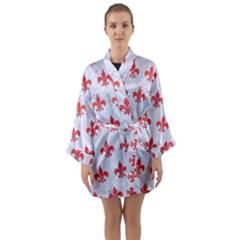 Royal1 White Marble & Red Colored Pencil Long Sleeve Kimono Robe