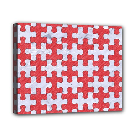 Puzzle1 White Marble & Red Colored Pencil Canvas 10  X 8  by trendistuff