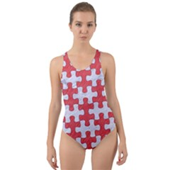 Puzzle1 White Marble & Red Colored Pencil Cut Out Back One Piece Swimsuit