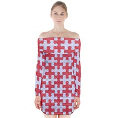Puzzle1 White Marble & Red Colored Pencil Long Sleeve Off Shoulder Dress by trendistuff
