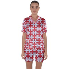 Puzzle1 White Marble & Red Colored Pencil Satin Short Sleeve Pyjamas Set