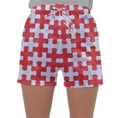 Puzzle1 White Marble & Red Colored Pencil Sleepwear Shorts