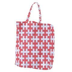 Puzzle1 White Marble & Red Colored Pencil Giant Grocery Zipper Tote