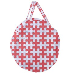 Puzzle1 White Marble & Red Colored Pencil Giant Round Zipper Tote