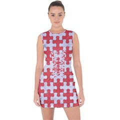 Puzzle1 White Marble & Red Colored Pencil Lace Up Front Bodycon Dress