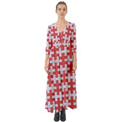 Puzzle1 White Marble & Red Colored Pencil Button Up Boho Maxi Dress