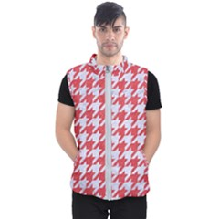 Houndstooth1 White Marble & Red Colored Pencil Men s Puffer Vest