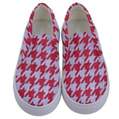 Houndstooth1 White Marble & Red Colored Pencil Kids  Canvas Slip Ons