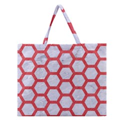 Hexagon2 White Marble & Red Colored Pencil (r) Zipper Large Tote Bag by trendistuff