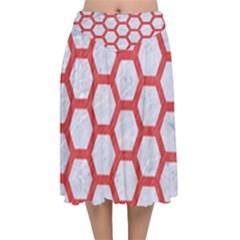 Hexagon2 White Marble & Red Colored Pencil (r) Velvet Flared Midi Skirt