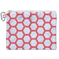 Hexagon2 White Marble & Red Colored Pencil (r) Canvas Cosmetic Bag (xxl)