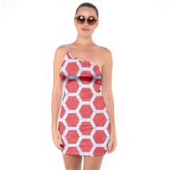 Hexagon2 White Marble & Red Colored Pencil One Soulder Bodycon Dress