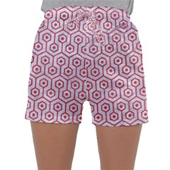 Hexagon1 White Marble & Red Colored Pencil (r) Sleepwear Shorts
