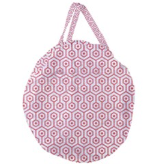 Hexagon1 White Marble & Red Colored Pencil (r) Giant Round Zipper Tote