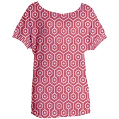 Hexagon1 White Marble & Red Colored Pencil Women s Oversized Tee
