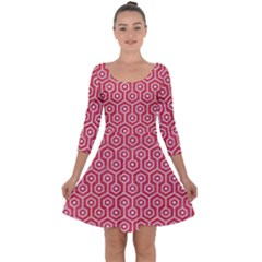 Hexagon1 White Marble & Red Colored Pencil Quarter Sleeve Skater Dress