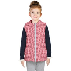 Hexagon1 White Marble & Red Colored Pencil Kid s Hooded Puffer Vest