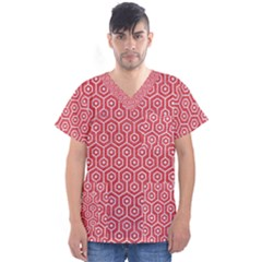 Hexagon1 White Marble & Red Colored Pencil Men s V Neck Scrub Top