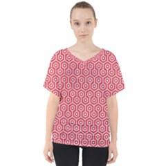 Hexagon1 White Marble & Red Colored Pencil V Neck Dolman Drape Top