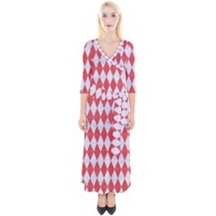 Diamond1 White Marble & Red Colored Pencil Quarter Sleeve Wrap Maxi Dress
