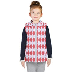Diamond1 White Marble & Red Colored Pencil Kid s Hooded Puffer Vest